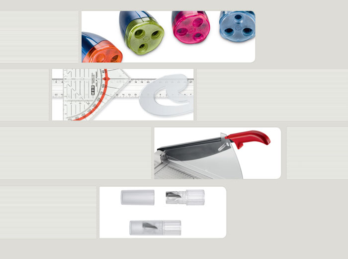 sharpener, paper trimmers, drawing instruments, cosmetic sharpeners
